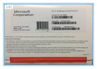 64 Bit Microsoft Windows 10 Operating System Builder OEM includes COA  Factory Sealed